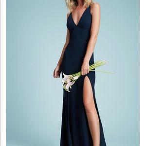 Dress the Population Iris Crepe Slit (S) Black